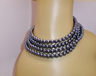 "Vintage Flapper Hematite 61"" Long Necklace Lariat Choker Collar Gadsby High Fashion Gun Metal Grey Gemstone Retro Art Deco Runway Statement"