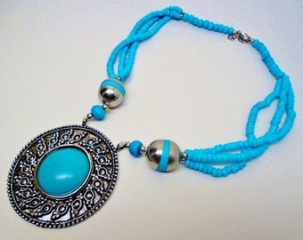 Vintage Ornate Turquoise Medallion Pendant Ethnic Cleopatra Necklace Beaded Roman Rustic Retro Art Deco  Runway Statement
