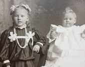 black and white antique sibling portrait children photo matted home decor