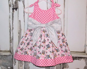 Owls in Pink Big Bow Dress 2 3 4 5 6 7 8 Custom Boutique Birthday Party Handmade Made in USA Tween Toddler Girls