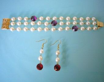 Pearl Bracelet and Earrings, Bracelet Set, Pearl Jewelry Set, Great Gatsby, Pearl Bracelet Set, Pearl Earring Set, Bridesmaid Jewelry