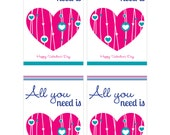 """School Classroom Valentine - All you need is love Card - 3"""" x 4.75"""" - Printable PDF - INSTANT DOWNLOAD"""