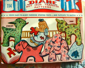 UNUSED 1950s Diane Transfer Pattern 114 * Four Easy-To-Make Stuffed Toys & Matching Patches for Embroidery  - UNCUT