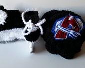 Colorado Avalanche helmet and ice skates, nhl skates, Avalanche