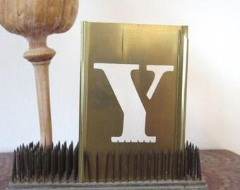 """1 vintage brass Y stencil, letter Y, capital Y, 3 inch stencil, 3 """" stencil Y, old stencil, metal stencil, old, rustic, primitive, antique"""