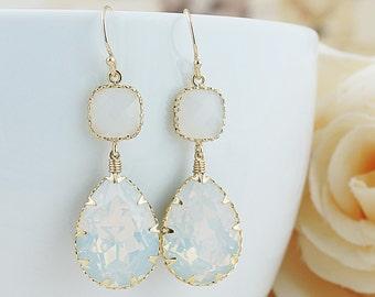 White Opal Swarovski Crystal GOLD FILLED Earrings - Dangle Earrings Pastel Earrings Gift for her Weddings Bridesmaid Jewelry Bridesmaid Gift