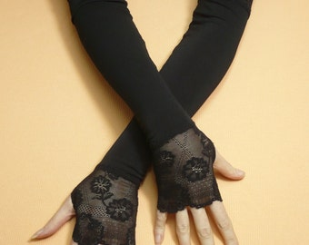 Long Fingerless Gloves with Lace Black Gothic Stretchy Armwarmers Thumb Holes, Belly Dance, Vampire Wedding, Noir, Stulpen Fusion DAnce
