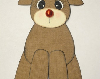 Rudolph Standing Reindeer Christmas Scrapbook Page Paper Piecing Card Topper