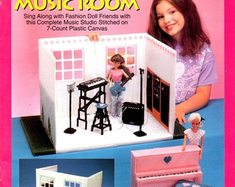 Music Room Plastic Canvas Guitar Music Stand Piano Stool Keyboard Amp Mic Needlepoint Embroidery  933729Doll House Craft Pattern Leaflet