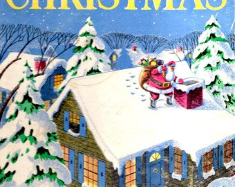Children's Book for Christmas Night Before Jingle Bells Runaway Christmas Bus Stories Poems Pictures for the Holiday Vintage 1940s Book