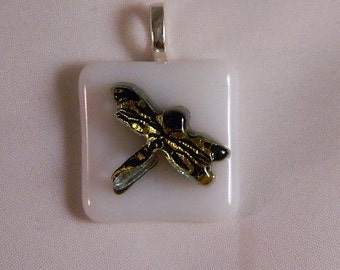 Dichroic Raised Dragonfly Pendant, Gold and Black on White fused Glass
