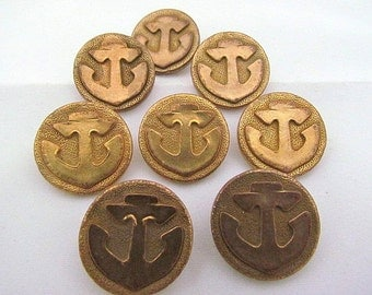 Old Brass Anchor Buttons Set Of 8