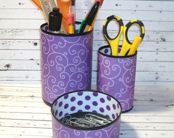 Purple Swirly Desk Accessories - Purple Pencil Holder - Pencil Cup - Office Organization - Purple Office Decor - 482