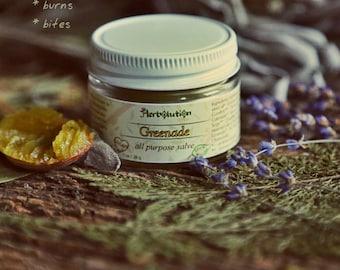 Greenade Herbal Organic Salve for cuts, scrapes, bites, bruises. Vegan. 1 oz
