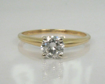 Vintage 0.50 Carat Diamond Solitaire Engagement Ring - LASER DRILLED - Clarity Enhanced - Appraisal Included
