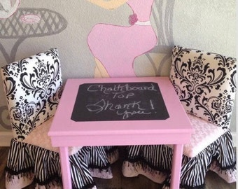 Children's chalkboard Table top 2 chairs skirt w/band & trim(custom)