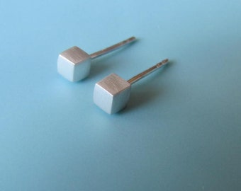 Cube Stud Earrings, Tiny Cube, Sterling Silver Earrings, Studs, Jewelry, Gift