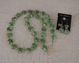 Green Mother of Pearl Necklace and Earrings