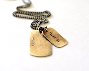 Sterling Tags, Dog Tag Necklace, Mens Jewelry, Gift For Him, Dad Necklace, Hand Stamped Dog Tags, Personalized Dog Tags