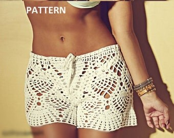 INSTANT DOWNLOAD PDF, Crochet Shorts, Beach Shorts, Boy Shorts, Pineapple Design, Summer Shorts Digital File, Chart Pattern