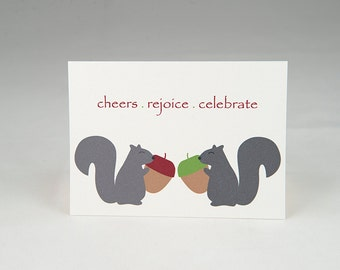 Squirrels (Cheers Rejoice Celebrate) Christmas 4-Bar Folded Card