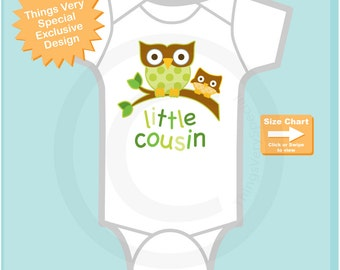 Little Cousin Shirt or Onesie Bodysuit Pregnancy Announcement, Gender Neutral Owl Big Cousin (03022015c)