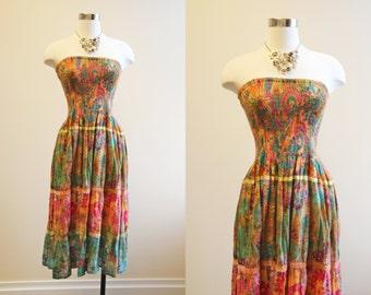 Vintage Indian Cotton Dress - 1980s Gauze Smocked Strapless Garden Party Sundress S M - Anya