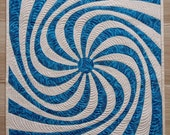 Modern wall hanging quilt  or table topper with geometric design - small two color quilt