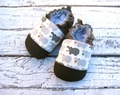 Classic Vegan Hippo in Charcoal / Non-Slip Soft Sole Shoes / Made to Order / Babies Toddlers Preschool