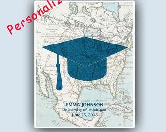Graduation Art, Graduation gift, graduation high school, PERSONALIZED, graduation announcement, graduation cap, graduation party 8x10