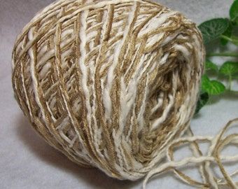 Dry Canyon Yarn, Warm Beige & Cream Color, Novelty Combo Yarn, Cotton Acrylic Blend, YOMD, Bin 25