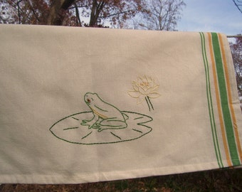 Tree frog on lily pad tea towel- hand stitched