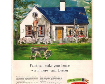1950 Paint & Varnish Vintage Ad, 1950's Home, Color Illustration, Retro Ad, Retro Home Exterior, House Paint, White Picket Fence.