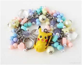Pokemon Pikachu Charm Bracelet, Pastel Colors, Stainless Steel, Gamer Girl, Kawaii Jewelry