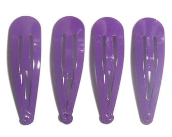 24 Pcs  Hair Snap Clip for girl findings Size 50 mm Purple Color