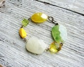 Yellow Bead Bracelet Chunky Yellow Green Beads Stackable Statement Bracelet Minimalist Jewelry Beaded Bracelet Simple Fashion Bracelet