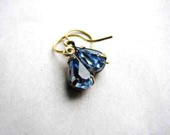 Blue Glass Jewel Earrings Vintage Cut Gems Tear Drop Estate Style Minimalist Modern Bridal Jewelry Sparkly