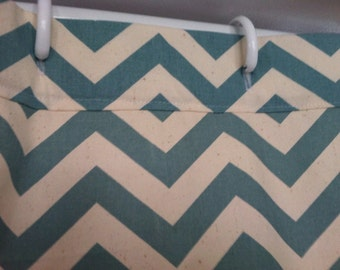Village Blue and Natural Chevron Shower Curtain-Full Size