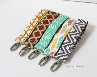 Key Chain / Key Fob - Swivel Clasp Key Wristlet - Choose Your Fabric - Sale
