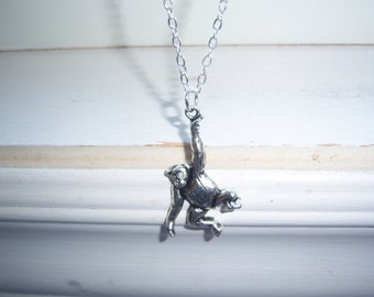 Monkey Necklace - Barrel Of Monkeys - Chimpanzee Necklace -Free Gift With Purchase