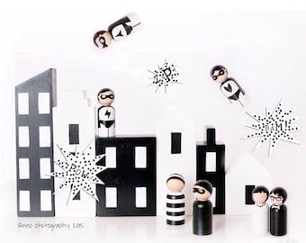 monochrome peg dolls city blocks black white dolls monochrome city complete set