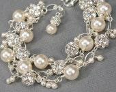 Pearl and Crystal Charm Bracelet, Unique Bridal Jewelry, Statement Pearl Bracelet, Wedding Jewelry, Beach Wedding, Swarovski Rhinestones