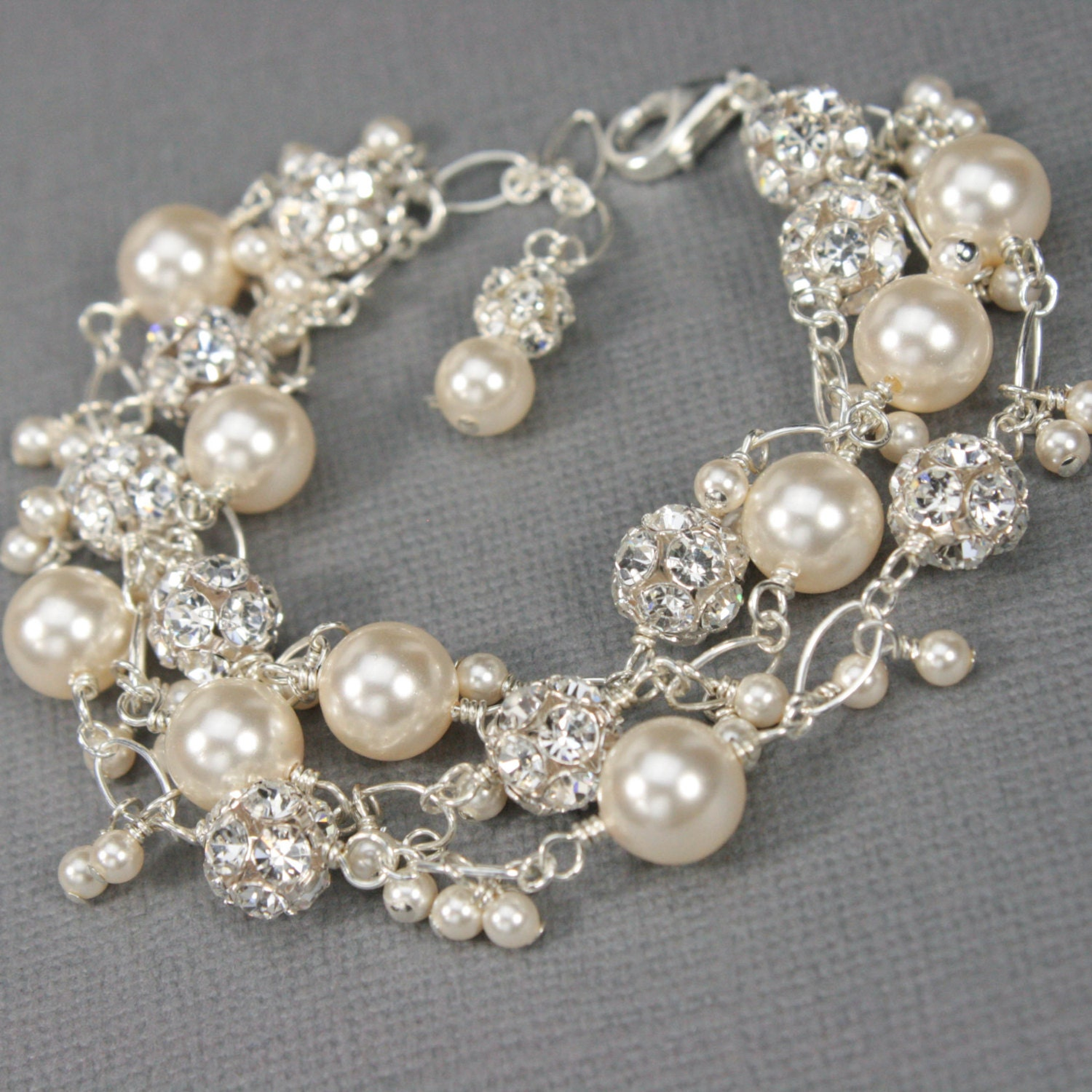 Pearl and Crystal Charm Bracelet Unique Bridal Jewelry