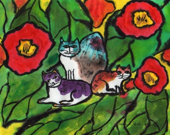 Three Cats Original Painting