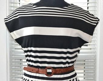 Vintage 80s Dress - Black & White Striped Knit Day Dress - Jonathan Logan - s/m