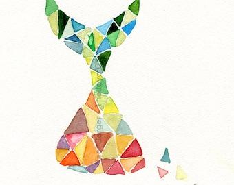 Art print, Time is Running, abstract geometric art,  colorful, Modern print, contemporary art, triangles, modern art, dorm decor