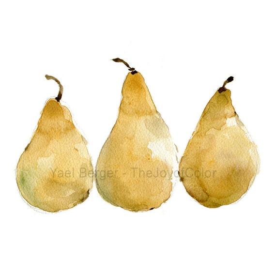 Pears art print, yellow pears art print, kitchen art, still life, fruit print, Print of watercolor,minimalist art, limited edition