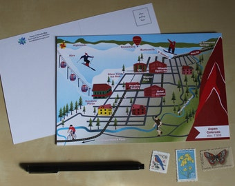 Aspen, Colorado Illustrated Map Postcard