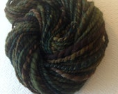 Sea Creature from the Depths Dark Green Brown Handspun Wool Yarn Bulky Weight Two Ply 2 Ply 61 yards