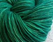 RESERVED Sparkle Toes Sock Yarn Treasure of Emerald Isle Hand Dyed sockyarn 463 yards green superwash merino nylon stellina fingering